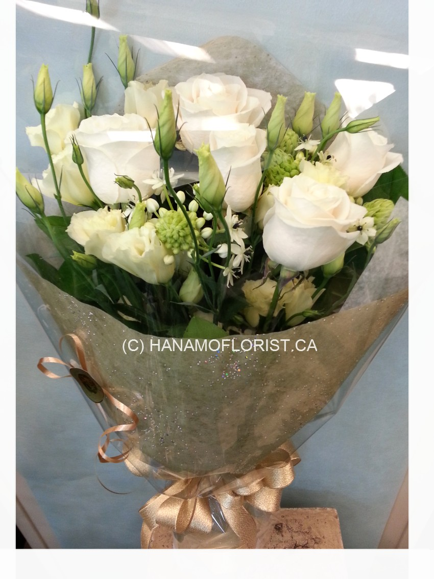 HAND801 White, Cream and Gold Handtied Bouquet