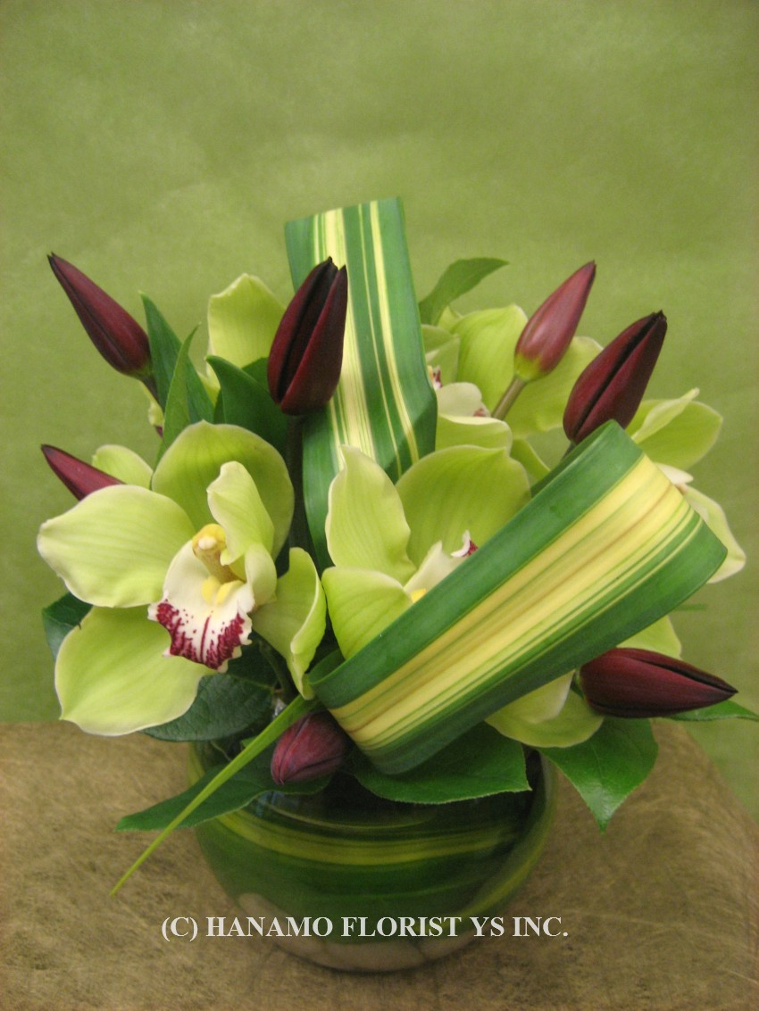 "VASE323 ""Special"" Cymbidiums & Tulips in a Glass Bowl"