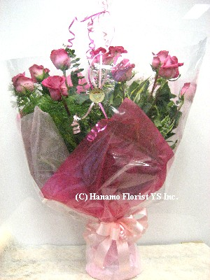 VALE100 1 Doz Premium Long Stem Pink Rose Hand-tied Bouquet