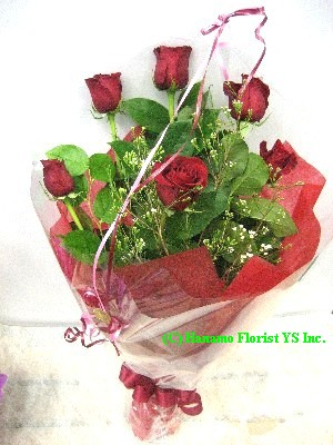 VALE008 6 Best Long Stem Red Rose Handtied Bouquet Classic