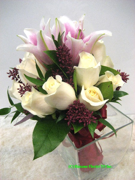 WEDB042 Cream Rose and Pink Lily Posy Hand-Tied Bouquet